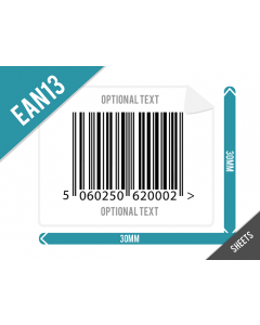 30mm x 30mm EAN13 (GTIN13) Labels