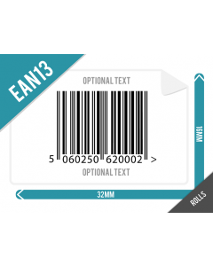 32mm x 16mm EAN13 (GTIN13) Labels