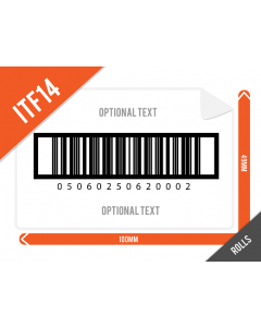 101mm x 49mm ITF14 (GTIN14) Barcode Labels supplied on Rolls
