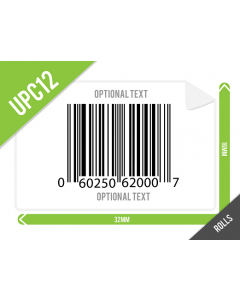 32mm x 16mm UPC-A (GTIN12) Labels