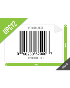 70mm x 50mm UPC-A (GTIN12) Labels