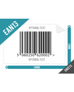 38mm x 21mm EAN 13 (GTIN13) Labels Supplied on Sheets