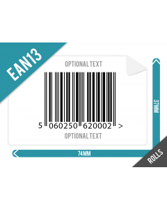 EAN13 Barcode Label 74mm x 36mm