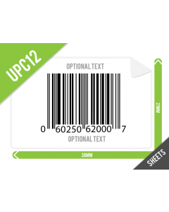 UPC-A 38mm x 21mm Varcode Labels